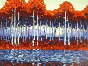Contemporary Outdoor - Reflected Aspen Grove 36x48 $3900