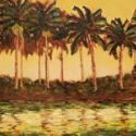 Contemporary Outdoor - Reflected Palms 18x36 $1900